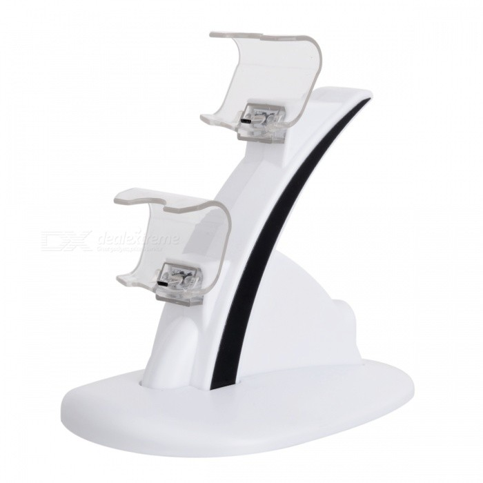Mini Dual Charging Dock for PS4 Slim / PS4 Controller - WhiteOther Accessories<br>Form  ColorWhiteQuantity1 DX.PCM.Model.AttributeModel.UnitMaterialPlasticShade Of ColorWhiteCompatible ModelsPS4,Others,PS4 SlimPacking List1 * Charging dock1 * Cable<br>