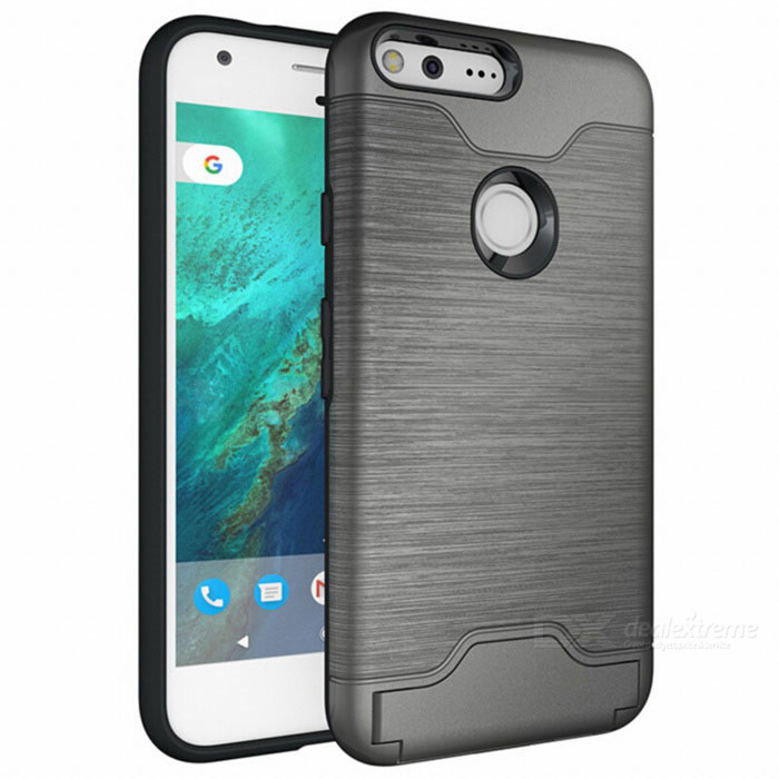 Shock-proof Back Case w/ Holder and Slot for Google Pixel XL - SilverTPU Cases<br>Form ColorSilverModelN/AMaterialOthers,TPU + PCQuantity1 DX.PCM.Model.AttributeModel.UnitShade Of ColorSilverCompatible ModelsGoogle Pixel XLPacking List1 * Case<br>