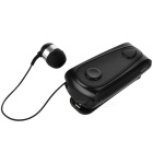 Bluetooth v4.0 cable retráctil clip-on auriculares - negro
