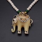 Auspicious Agate Beads Style Elephant Shaped Pendant Necklace - White