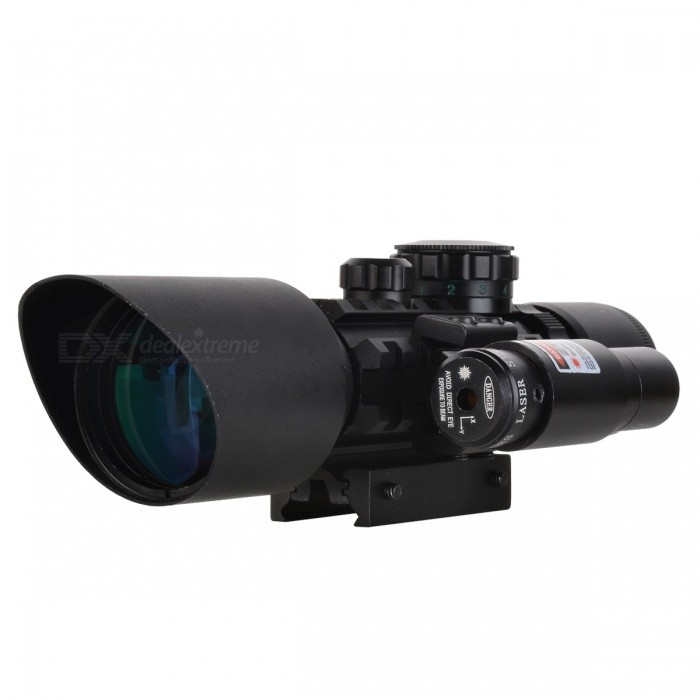 Multifunction Shockproof Rifle Scope + Green Laser Sight - BlackGun Scopes &amp; Sights<br>Form  ColorBlackMaterial-Quantity1 DX.PCM.Model.AttributeModel.UnitMount TypeWeaverMagnification3x~10xObjective Diameter42mmLaser Wavelength625~660mmLaser ColorRedPacking List1 * Rifle scope with laser sight3 * LR44 Batteries1 * CR232 Battery1 * Cleaning cloth2 * Hexagonal wrench (Small + Large size)1 * English manual<br>