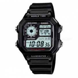 Casio AE-1200WH-1AVDF Men Alarms Watch - Black (Without Box)