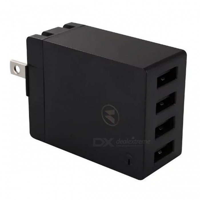Universal 4-Port USB 5V 2.4A AC Charger w/ US Plugs - Black (100~240V)