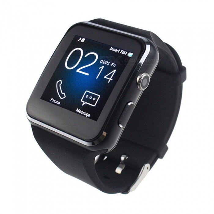 Bluetooth Smart Watch w/ Camera Supports SIM / TF Card - BlackSmart Watches<br>Form  ColorBlackQuantity1 setMaterialPlasticCPU ProcessorMTK6260AScreen Size1.54 inchScreen Resolution240 * 240 pixelNetwork Type2GCellularGSMSIM Card TypeMicro SIMBluetooth VersionBluetooth V4.0Compatible OSAndroid, IOS (No APP for IOS)LanguageEnglish, French, Spanish, Polish, Portuguese, Filipino, Italian, German, Malay, Indonesian, Vietnamese, Turkish, Russian, Hebrew, Chinese, ArabicWristband Length25 cmWater-proofOthers,Life WaterproofBattery ModeNon-removableBattery TypeLi-ion batteryBattery Capacity300 mAhStandby Time5 hourOther Features0.3MP Camera, Support max 32GB TF card.Packing List1 * Smart Watch1 * Charging Cable1 * Chinese and English Manual<br>