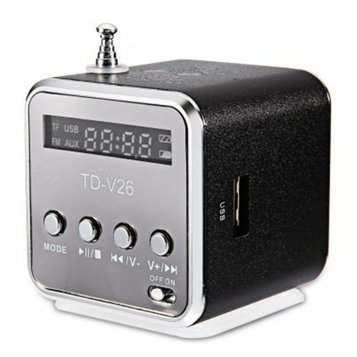 TD - V26 Mini Portable LCD Sound Speaker w/ FM Radio