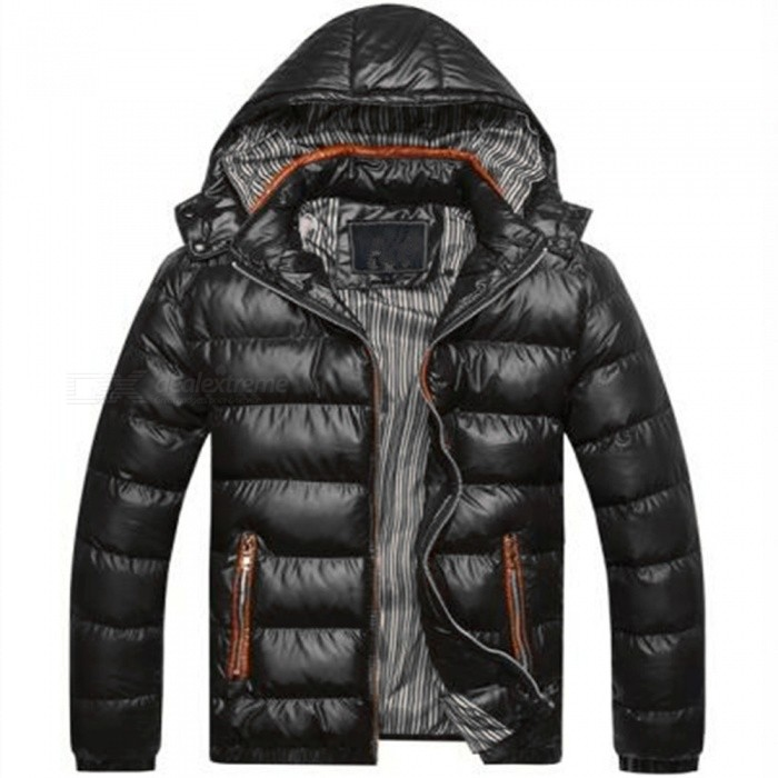 Buy Men Slim & Thicken Jacket Coat w/ Removable Hooded - Black (Size: XL) with Litecoins with Free Shipping on Gipsybee.com