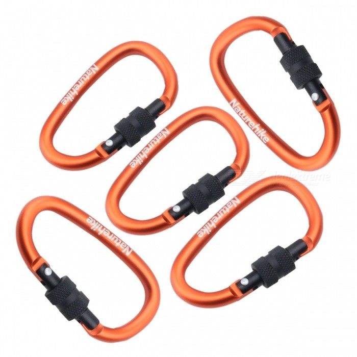 NatureHike 8cm Type-D Alloy Quick Release Buckle - Orange (5 PCS)Form  ColorOrange + Black (5 PCS)ModelNH15A008-DQuantity1 DX.PCM.Model.AttributeModel.UnitMaterialAluminium alloyBest UseFamily &amp; car camping,Travel,CyclingCarabiner typeLocking carabinerWeight Limit25 DX.PCM.Model.AttributeModel.UnitLength8 DX.PCM.Model.AttributeModel.UnitSizeFree SizeTypeBackpack Accessories,Tactical BackpacksPacking List5 * Mountaineering buckles<br>
