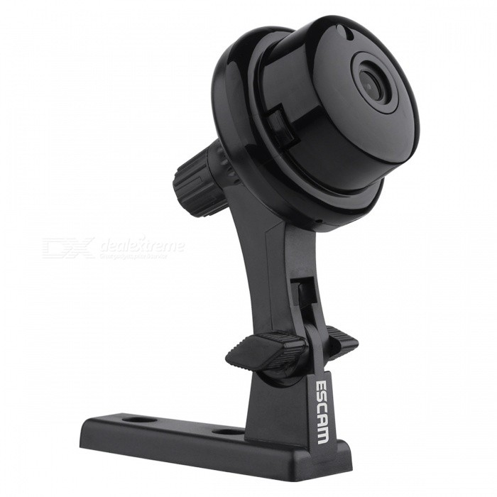 Escam Q6 ONVIF2.4.2 1.0MP Mini Wireless IP Camara - Black (EU Plug)IP Cameras<br>Form  ColorBlackPower AdapterEU PlugModelQ6MaterialABSQuantity1 setImage SensorCMOSImage Sensor SizeOthers,1/4Pixels1.0MPLens3.6mmViewing AngleOthers,56.14° °Video Compressed FormatH.264Picture Resolution720PFrame Rate25Audio Compression FormatOthers,ADPCMMinimum Illumination0.3 LuxNight VisionYesIR-LED Quantity1Night Vision Distance10 mWireless / WiFi802.11 b / g / nNetwork ProtocolTCP,IP,UDP,SMTP,DHCP,NTP,uPnP,Others,P2P, RTSPSupported SystemsWindows 2000,2003,XP,7Supported BrowserIE 6.0 and above,Google Chrome,FirefoxSIM Card SlotNoOnline Visitor4IP ModeDynamic,StaticMobile Phone PlatformAndroid,iOSFree DDNSYesIR-CUTYesBuilt-in Memory / RAMNoLocal MemoryYESMemory CardTFMax. Memory Supported128GBSupported LanguagesEnglish,Simplified Chinese,Traditional Chinese,Brazilian,Russian,Spanish,Italian,German,FinnishWater-proofNoRate Voltage5VRated Current2 AIntercom FunctionYesCertificationISO, FCC, CE, RoHSPacking List1 * IP Camera1 * Charger1 * USB Cable 1 * Users manual1 * Screw1 * Mounting bracket<br>