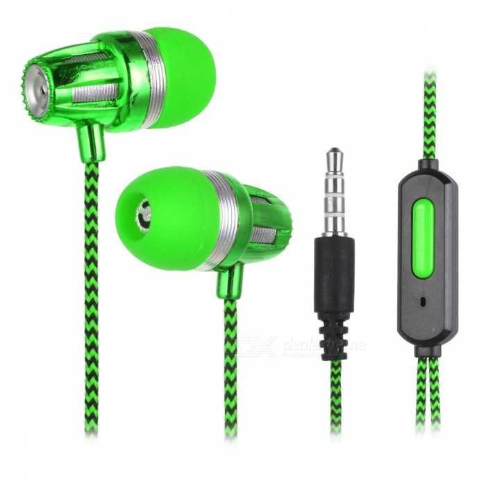 JEDX Bullet Head Style Fabric Cloth Cable In-Ear Earphone - GreenHeadphones<br>Form  ColorGreenBrandOthers,JEDXMaterialABSQuantity1 DX.PCM.Model.AttributeModel.UnitConnection3.5mm WiredBluetooth VersionNoConnects Two Phones SimultaneouslyNoCable Length110 DX.PCM.Model.AttributeModel.UnitLeft &amp; Right Cables TypeEqual LengthHeadphone StyleBilateralWaterproof LevelIPX0 (Not Protected)Applicable ProductsUniversalHeadphone FeaturesLightweight,PortableRadio TunerNoSupport Memory CardNoSupport Apt-XNoPacking List1 * Earphone<br>