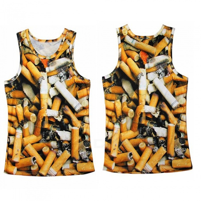 Three-Dimensional Cigarette Pile Pattern Printed Mens Sports Vest, XLTees<br>Form  ColorYellow + MulticolorSizeXLQuantity1 DX.PCM.Model.AttributeModel.UnitShade Of ColorYellowMaterialPolyester perishShoulder Width37~38 DX.PCM.Model.AttributeModel.UnitChest Girth50~52 DX.PCM.Model.AttributeModel.UnitSleeve Length0 DX.PCM.Model.AttributeModel.UnitTotal Length70 DX.PCM.Model.AttributeModel.UnitSuitable for Height172~176 DX.PCM.Model.AttributeModel.UnitPacking List1 * Vest<br>