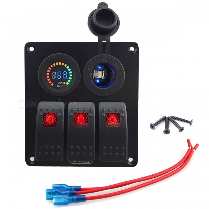 IZTOSS 3 Gang RED LED Switch Panel w/ Socket + LED (DC 12V)Car Switches<br>Form  ColorBlackModelS650-ZQuantity1 DX.PCM.Model.AttributeModel.UnitMaterialPA66Indicator LightYesRate Voltage12VRated Current5 DX.PCM.Model.AttributeModel.UnitOther FeaturesDouble USB ,Power socket<br>Material: aluminium for panel ,IP65 and copper for other<br>Short circuit / overheat protection for on-off rocker switch <br>Suitable for both 12V systems Panel is pre-wiredCertificationCEPacking List1 * 3-Gang Rocker Switch Panel 4 * Screws<br>