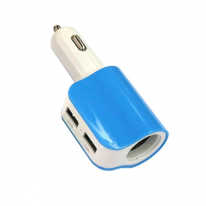 DC 5V 2.1A Dual USB + Cigarette Lighter Hole Car Charger - Blue +White