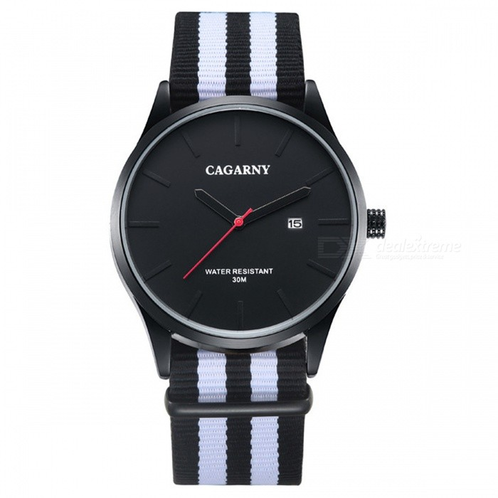 CAGARNY Ultra-thin Waterproof Men Casual Quartz Watch - Black + WhiteQuartz Watches<br>Form  ColorBlack + WhiteModel6865Quantity1 DX.PCM.Model.AttributeModel.UnitShade Of ColorBlackCasing MaterialStainless steelWristband MaterialNylonSuitable forAdultsGenderMenStyleWrist WatchTypeCasual watchesDisplayAnalogBacklightNOMovementQuartzDisplay Format12 hour formatWater ResistantWater Resistant 3 ATM or 30 m. Suitable for everyday use. Splash/rain resistant. Not suitable for showering, bathing, swimming, snorkelling, water related work and fishing.Dial Diameter4.2 DX.PCM.Model.AttributeModel.UnitDial Thickness0.97 DX.PCM.Model.AttributeModel.UnitWristband Length24.8 DX.PCM.Model.AttributeModel.UnitBand Width2.2 DX.PCM.Model.AttributeModel.UnitBatterySR626SW / 1pcsPacking List1 *  Quartz watch1 * English / Chinese user manual<br>