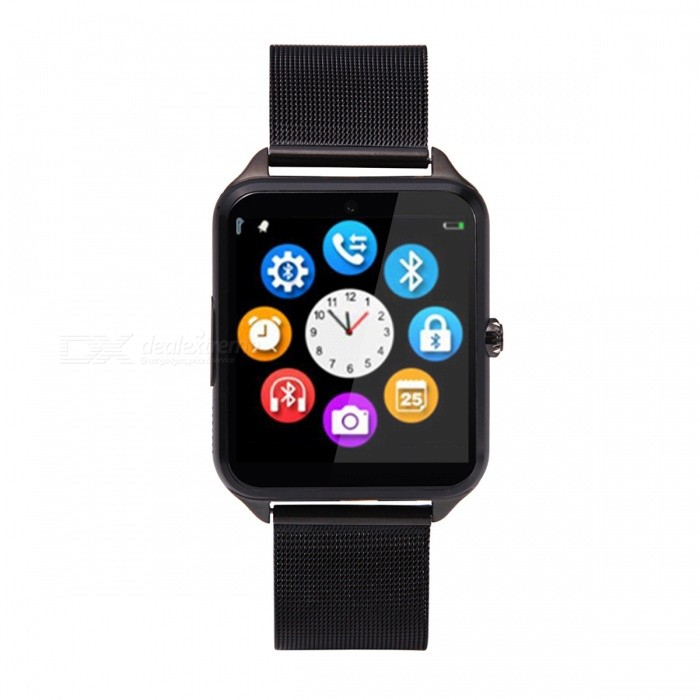 Bluetooth Stainless Steel Smart Watch for IOS Android Device - Black