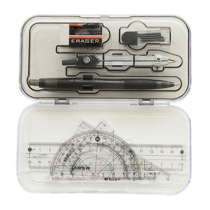 ACS90809 8 in 1 Compasses + Pencil + Eraser Geometry Kit - GreyOther Stationeries<br>Form  ColorGreyModelACS90809MaterialPP + metalQuantity1 DX.PCM.Model.AttributeModel.UnitPacking List1 * Graphic Compass with Holder1 * Study Compass1 * Eraser1 * Pencil Lead1 * Pencil1 * Ruler2 * Set Squares<br>