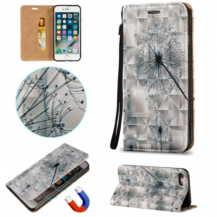 BLCR 3D Embossed Dandelion Pattern Magnetic PU Case for IPHONE 7Leather Cases<br>Form  ColorWhite + MulticolorQuantity1 DX.PCM.Model.AttributeModel.UnitMaterialPU + TPUCompatible ModelsiPhone 7StyleFlip OpenDesignMixed Color,With Stand,3D,Card Slot,With Strap,Others,Magnetic ClosurePacking List1 * Case1 * Strap<br>