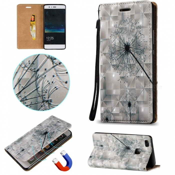 new styles 016fd e870f BLCR 3D Embossed Dandelion Pattern Magnetic PU Case for Huawei P9 Lite