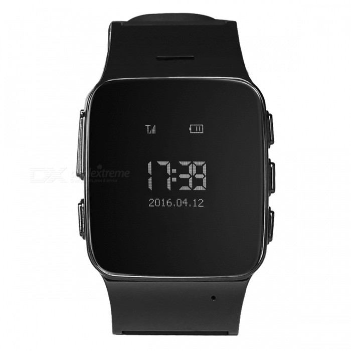 DMDG GPS Locator Smart Watch Phone / GPS Tracker / SOS Alarm - BlackSmart Watches<br>Form  ColorBlackQuantity1 DX.PCM.Model.AttributeModel.UnitMaterialABS + SiliconeShade Of ColorBlackCPU ProcessorMTK6261Screen Size0.96 DX.PCM.Model.AttributeModel.UnitScreen Resolution240 x 240 pixelsTouch Screen TypeNoNetwork Type2GCellularWCDMA,TD-SCDMASIM Card TypeMicro SIMBluetooth VersionNoCompatible OSAndroid, IOSLanguageEnglish, ChineseWristband Length24 DX.PCM.Model.AttributeModel.UnitWater-proofOthers,IP54Battery ModeNon-removableBattery TypeLi-polymer batteryBattery Capacity400 DX.PCM.Model.AttributeModel.UnitStandby Time120 DX.PCM.Model.AttributeModel.UnitPacking List1 x GPS watch1 x USB Cable (20cm)1 x English user manual<br>