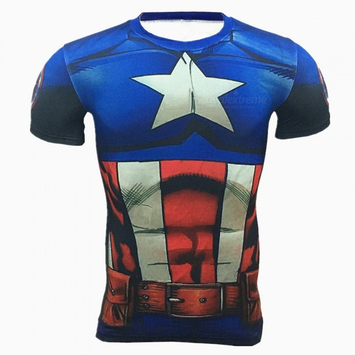 Buy Outdoor US Captain Pattern Short Sleeve Men's T-shirt (L) with Litecoins with Free Shipping on Gipsybee.com