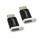 Cwxuan USB Type-C Male to Micro USB Female Adapter - Black (2PCS)