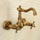 F-0410-Wall-Mounted-Two-Handle-Two-Hole-Antique-Brass-Bathroom-Faucet