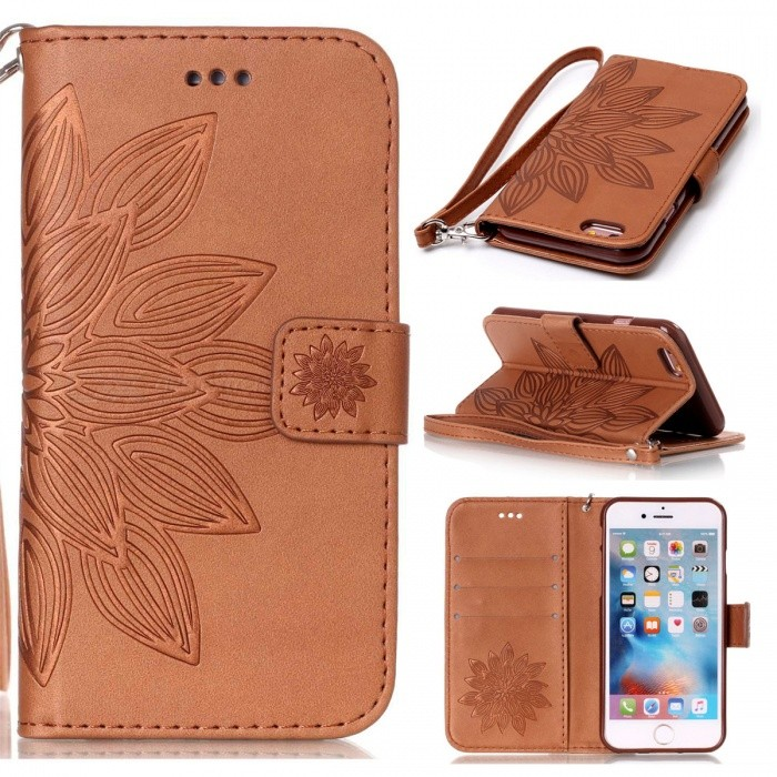 BLCR 3D Flower Pattern PU Wallet Case for IPHONE 6 / 6S - BrownLeather Cases<br>Form ColorBrownQuantity1 DX.PCM.Model.AttributeModel.UnitMaterialPU + TPUCompatible ModelsIPHONE 6S,IPHONE 6StyleFlip OpenDesignMixed Color,With Stand,Card Slot,With StrapPacking List1 x Case1 x Strap<br>