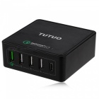 TUTUO 40W 5-Ports QC3.0 Type-C Fast Desktop Wall USB Chargeur (US Plugs)