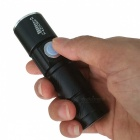 S Size USB Rechargeable 3-Mode Zooming Flashlight - Black