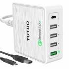 TUTUO-40W-5-Port-QC30-Type-C-USB-Desktop-Charger-White-(EU-Plugs)