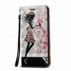 BLCR 3D Embossed Girl Magnetic PU + TPU Case for IPHONE 7 -White + Red