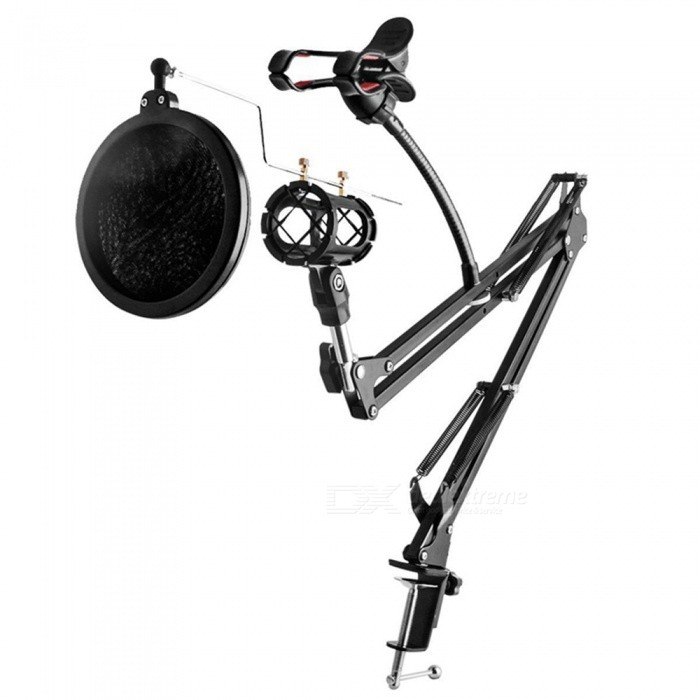 Buy Adjustable Desk Recording Microphone Stand with Phone Holder with Litecoins with Free Shipping on Gipsybee.com