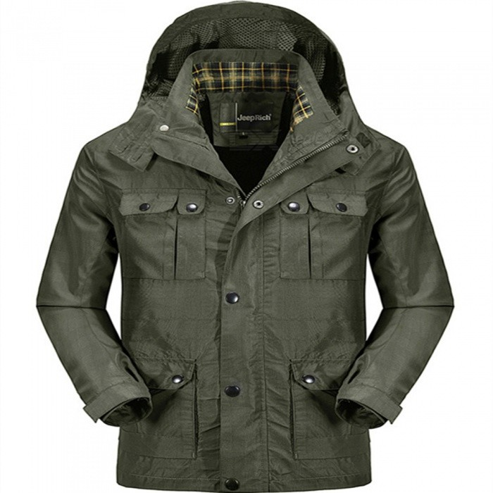 Buy Jeep Rich Men's Casual Polyester Loose Coat Jacket - Army Green (XXL) with Litecoins with Free Shipping on Gipsybee.com