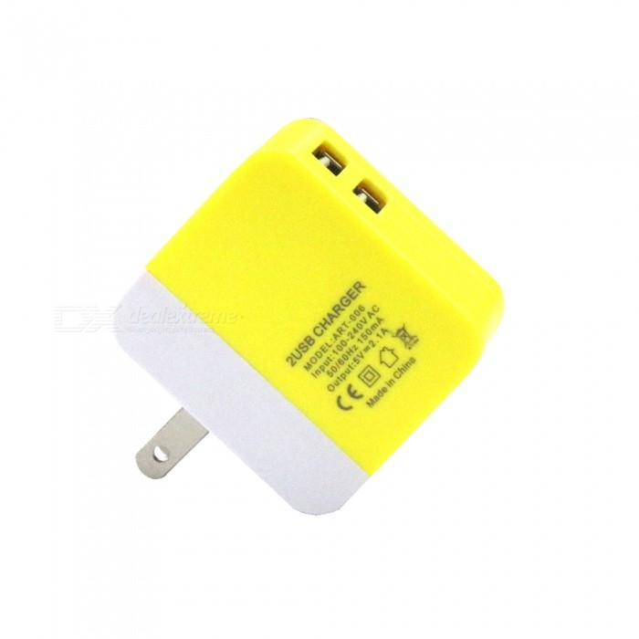 AC 100~240V Dual USB Color Section Charger, US Plugs - Yellow + White