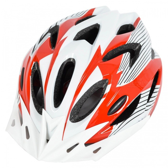 18 Vents PC + EPS Bicycle Helmet w/ Visor for Cycling- Red + White