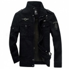 Military-Army-Soldier-Air-Force-Mens-Cotton-Coat-Jacket-Black-(M)