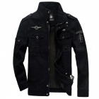 Military-Army-Soldier-Air-Force-Mens-Cotton-Coat-Jacket-Black-(L)