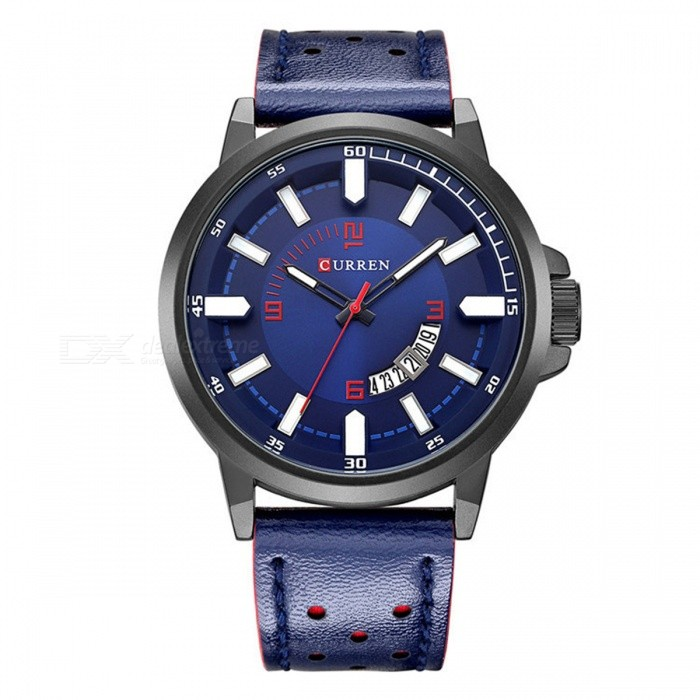 CURREN 8228 Fashion Mens Alloy Case Wrist Watch - SapphireQuartz Watches<br>Form  ColorSapphire BlueModel8228Quantity1 DX.PCM.Model.AttributeModel.UnitShade Of ColorBlueCasing MaterialAlloyWristband MaterialLeatherSuitable forAdultsGenderUnisexStyleWrist WatchTypeFashion watchesDisplayAnalogBacklightNoMovementQuartzDisplay Format12 hour formatWater ResistantFor daily wear. Suitable for everyday use. Wearable while water is being splashed but not under any pressure.Dial Diameter4 DX.PCM.Model.AttributeModel.UnitDial Thickness1 DX.PCM.Model.AttributeModel.UnitWristband Length26 DX.PCM.Model.AttributeModel.UnitBand Width2 DX.PCM.Model.AttributeModel.UnitBattery1 x 626Packing List1 x Watch<br>