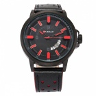 CURREN-8228-Fashion-Mens-Alloy-Case-Wrist-Watch-Black-2b-Red