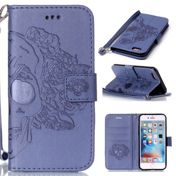 BLCR Skull Pattern Leather Wallet Case for IPHONE 6 / 6S - BlueLeather Cases<br>Form ColorBlueQuantity1 pieceMaterialPU + TPUCompatible ModelsIPHONE 6S,IPHONE 6StyleBack Cases,Flip OpenDesignWith Stand,Card Slot,With StrapPacking List1 x Case1 x Strap<br>