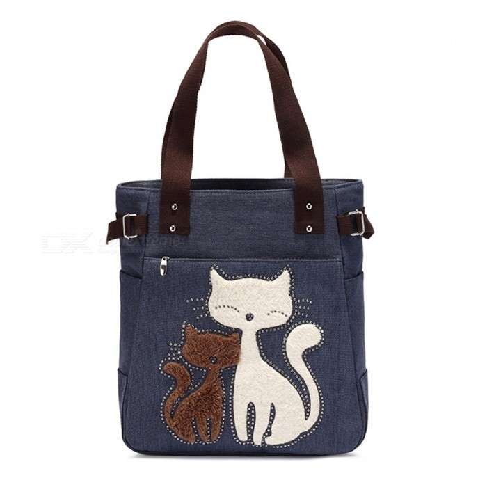 Buy KAUKKO GW093 10L Cute Cat Pattern Handbag for Women - Blue with Litecoins with Free Shipping on Gipsybee.com