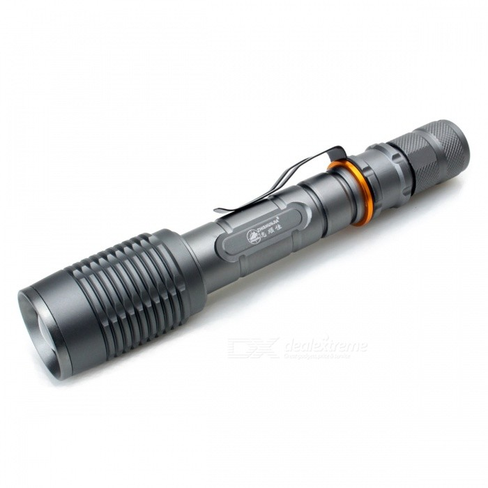 ZHISHUNJIA 101-2T6 900lm 5-Mode Cold White Zooming Flashlight18650 Flashlights<br>Form  ColorGrey + BlackBrandZHISHUNJIAModel101-2T6Quantity1 DX.PCM.Model.AttributeModel.UnitMaterialAluminium alloyOther FeaturesZoom-to-throw,Rechargeable,TacticalEmitter BrandCreeLED TypeXM-LEmitter BINT6Number of Emitters1Color BINMulti-colorWorking Voltage   3.7-7.4 DX.PCM.Model.AttributeModel.UnitPower Supply2*18650 (not required)Current1.8 DX.PCM.Model.AttributeModel.UnitOutput(lumens)801-1000Theoretical Lumens1000 DX.PCM.Model.AttributeModel.UnitActual Lumens900 DX.PCM.Model.AttributeModel.UnitRuntime(hours)4.1 and aboveRuntime4 DX.PCM.Model.AttributeModel.UnitNumber of Modes5Mode ArrangementHi,Mid,Low,Fast Strobe,SOSMode MemoryNoSwitch TypeForward clickySwitch LocationTailcapLensPlasticReflectorNoBeam Range200 DX.PCM.Model.AttributeModel.UnitStrap/ClipClip includedPacking List1 x Flashlight<br>