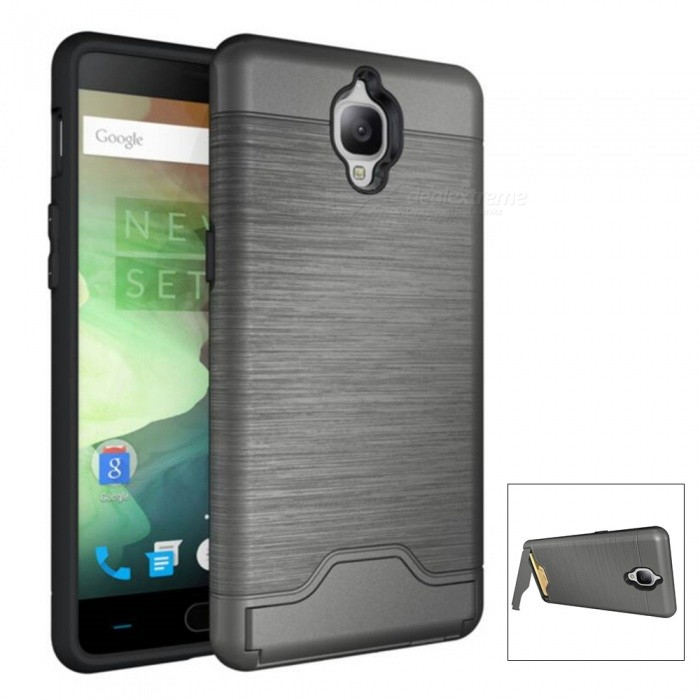 Protective PC + TPU Back Case w/ Card Slots for Oneplus 3 - GreyPlastic Cases<br>Form  ColorGreyModelN/AMaterialPC + TPUQuantity1 DX.PCM.Model.AttributeModel.UnitShade Of ColorGrayCompatible ModelsOneplus 3FeaturesAnti-slip,Dust-proof,Shock-proof,Abrasion resistance,Easy-to-remove,Holder functionPacking List1 x Case<br>