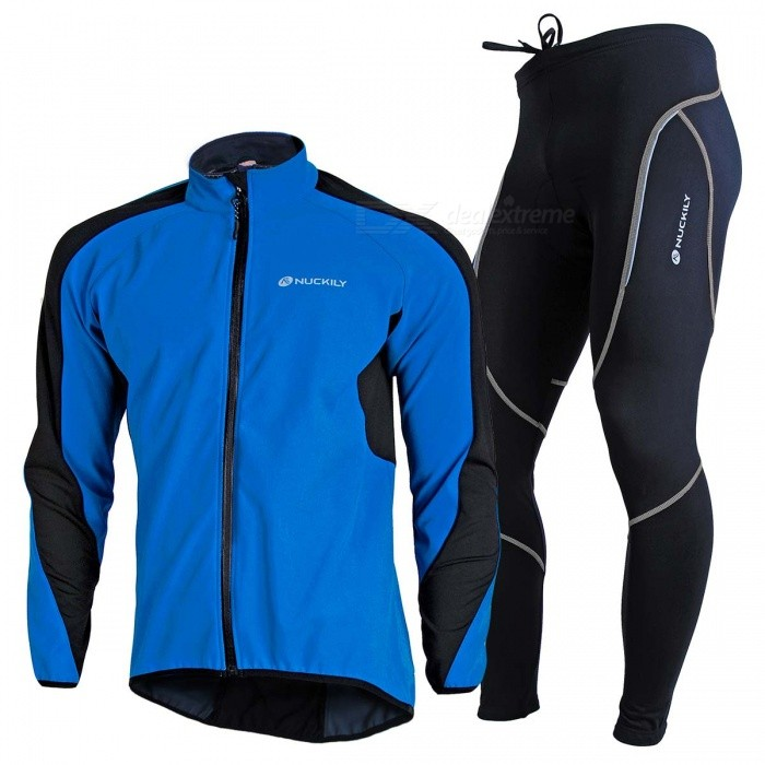 NUCKILY Windproof Waterproof Long Sleeved Cycling Suit - Blue