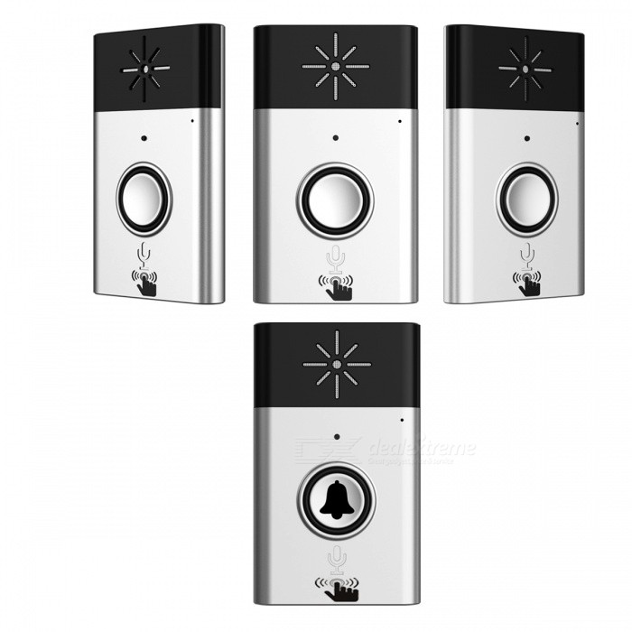 Wireless Video Wi-Fi Doordell w/ 1 Transmitter + 3 Receivers - Silver