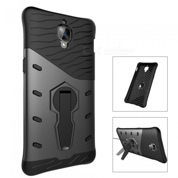 separation shoes c6fb6 b8e60 TPU + PC Back Case w/ Holder Stand for Oneplus 3T - Black