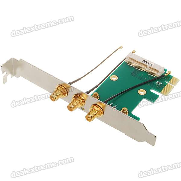Buy Mini PCI-Express to PCI-Express Adapter Card with 3*2dBi Antennas with Litecoins with Free Shipping on Gipsybee.com
