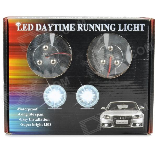 Universal 9-LED Daytime Running White Lights for Car (Pair/DC 12V)