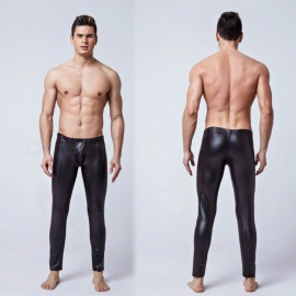 Mens-Tight-Elastic-Sexy-Leather-Patent-Leather-Trousers