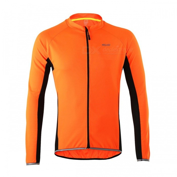 Buy Arsuxeo Cycling Quick-Drying Polyester Long-Sleeve Jersey - Orange(XL) with Litecoins with Free Shipping on Gipsybee.com