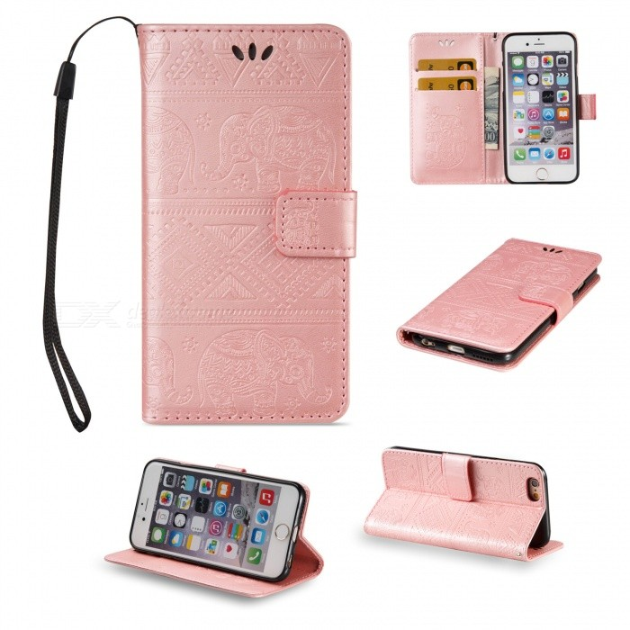 BLCR Elephant Pattern PU TPU Wallet Case for IPHONE 6/6S - Rose Golden